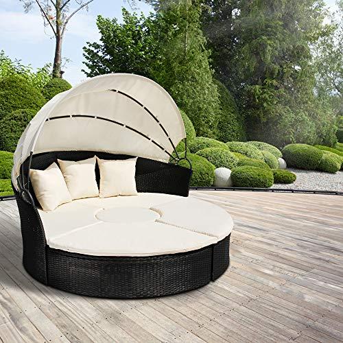 MIADOMODO Hochwertige Polyrattan Lounge Sonneninsel Ø 180 cm (Farbwahl) mit Tisch...