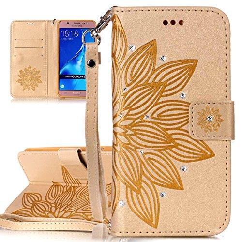 Custodia Samsung Galaxy J7 2016, ISAKEN Samsung Galaxy J7 Cover con Strap, Elegante borsa Dente di leone Design in Pelle Sintetica Ecopelle PU Case Cover Protettiva Flip Portafoglio Case Cover Protezi fiori:oro