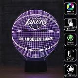 Olanstar Optische Täuschung NBA Los Angeles Lakers Basketball Logo Dekoration Spielzeug Lampe Berühren Sie Botton Tischleuchte