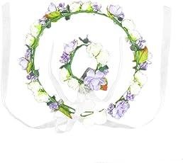 HBF Blumenkranz Handwerk Blumenkrone Stirnband Armband Festival Hochzeit Hand und Haarkranz KIT BOHO Blumenstirnband für Mädchen Brautjungfer Party Hochzeit Festival