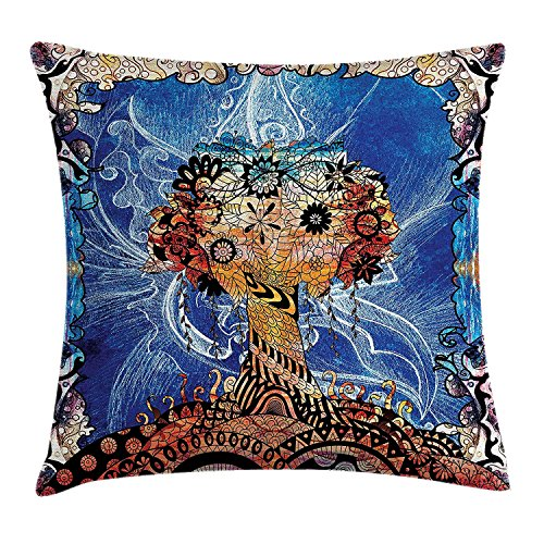Keoik Trippy Throw Pillow Cushion Cover, Indie Style Sketchy Retro Tree with Flower Forms on Paisley Backdrop Abstract Image, Decorative Square Accent Pillow Case, Blue Brown 20x20inches