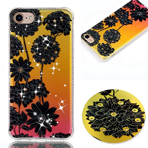 iPhone 7 Coque, Voguecase TPU avec Absorption de Choc, Etui Silicone Souple Transparent, Légère / Ajustement Parfait Coque Shell Housse Cover pour Apple iPhone 7 4.7 (fleur rouge et papillons 08)+ Gra chrysanthème noir