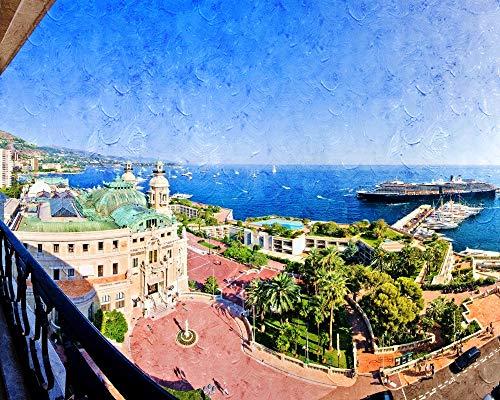 SINABC Diamond Painting Full Drill Kreuzstich Monaco-Ansicht Landschaft Runder Bohrer Handwerk Hobbies Bilder Arts Craft Geschenk Für Home Wall Decor Enthalten Rahmenlos 40X50Cm
