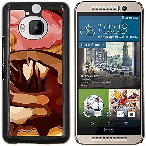 Copertura di plastica Shell Custodia protettiva || HTC One M9+ M9 Plus || Casuale Arte Moderna Ciambella Pink Sugar Chocolate
