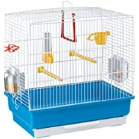 Ferplast Rectangular Cage for Small Exotic Birds and Canaries REKORD 2 Cage for Birds, Complete With Accessories and Revolving Feeders, Painted Metal White and Blue Plastic Bottom, 39 x 25 x h 41 cm