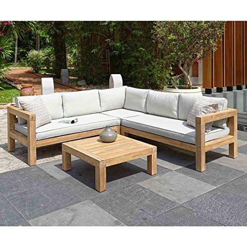 OUTLIV. Loungemöbel Holz Stockton Loungeecke 4-teilig Akazie/Polster Loungegruppe modern Gartenlounge wetterfest