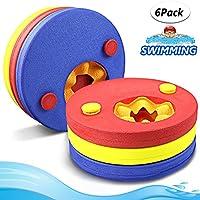 Manguitos de natación para niños, hechos de espuma, varios colores flotador bebe piscina Discos Flotantes escuela que los aprendan a nadar cinta para brazo( 6 disco)