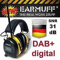 """FM / DAB+ DIGITAL Radio,  31dB Original """"EARMUFF"""" mit  Senderspeicher - Extra robuster Kapsel Gehörschutz Kopfhörer mit SmartPhone und MP3 Anschluss inkl. AUX Kabel und 2000mAh Lithium Akku"""