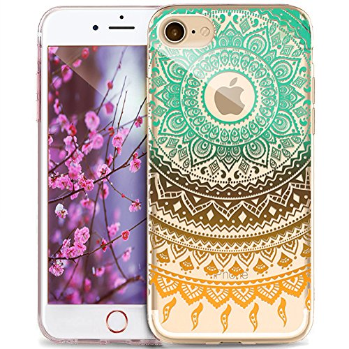 Cover iPhone 7 Plus,Custodia iPhone 7 Plus,ikasus® Crystal Clear TPU con Indische Sonne Mandala del fiore per iPhone 7 Plus Custodia Cover [Crystal TPU] [Shock-Absorption] Protettiva Trasparente Ultra Mandala del fiore #6
