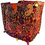 Indische Baumwolltasche bunt weinrot Paisley Stickereien Spiegel Tasche Accessoire