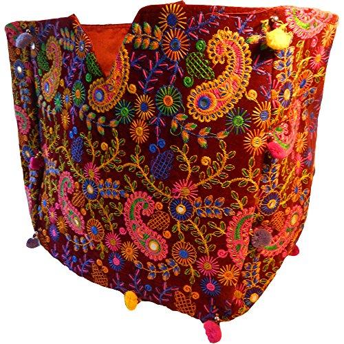 Bolso indio algodón multicolor tojo vino floral bordados espejitos flores bolsa accesorio