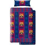 Asditex Juego de Sábanas Coralina F.C. Barcelona, 3 Piezas (1 Sábana Encimera, 1 Funda de Almohada y 1 Sábana Bajera), Diseño