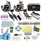 WORMHOLE TATTOO Komplettes Tattoo Kit 2 Tattoo Maschine Dual Power Supply 20 Tattoo Nadeln 40 Farbtinten für Anfänger und Künstler (TK1000033)