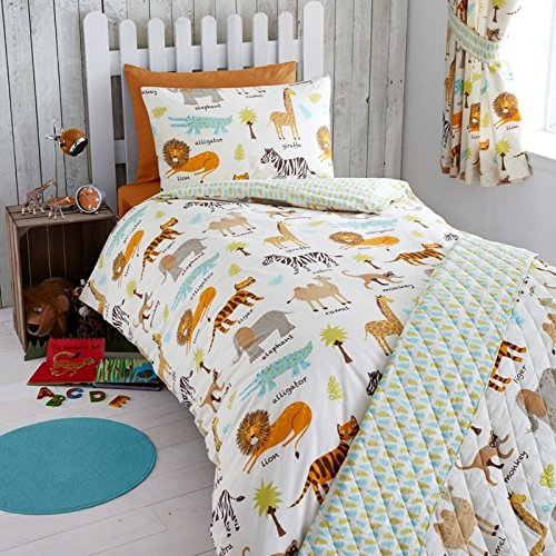 Kidz Club My Safari Housse de Couette et taie d'oreiller en Polyester et Coton pour Enfant/bébé Multicolore
