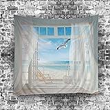 GuDoQi Tapisserie Meerblickfenster Naturlandschaft Tapisserie Wandteppich Wand Dekoration Home Decor Beach Blanket