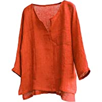 Dazzerake Camicia da Uomo in Cotone e Lino Sciolto Maglietta a Manica Lunga Colore Solido Collo a V Casual da Spiaggia