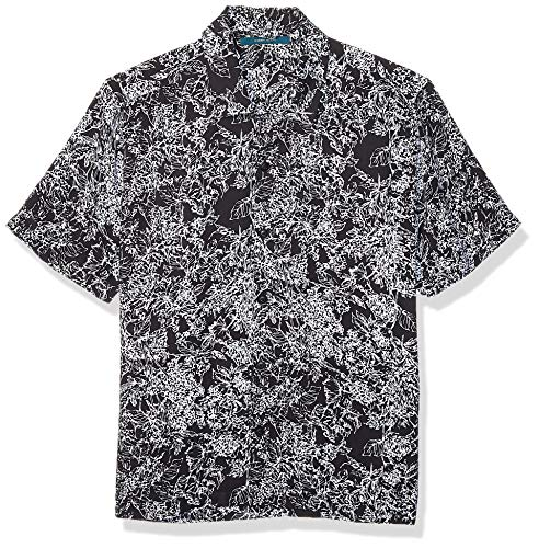 Perry Ellis Herren Abstract Floral Print Short Sleeve Shirt Hemd, Black-4emw7059, Mittel -