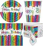 33-teiliges Party Set Regenbogen Kindergeburtstag Geburtstag Party Fete Feier 8 Teller, 8 Becher, 16 Servietten, Tischdecke