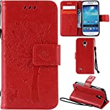 Ooboom® Samsung Galaxy S4 Mini Case Cat Tree Pattern PU Leather Flip Cover Wallet Stand with Card/Cash Slots Packet Wrist Strap Magnetic Clasp for Samsung Galaxy S4 Mini - Red