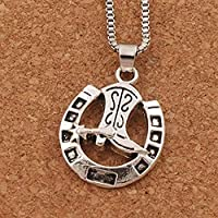 lianglimin Necklace Antique Silver Lucky Horseshoe with Cowboy Boot Pendant Necklaces 24 Inches Chains