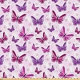 ABAKUHAUS Hippie Stoff als Meterware, Schmetterlinge Fairy