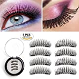 [2018 Upgraded Version] Gesentur Magnetic False Eyelashes Extension Full Strip, GLUE FREE Reusable Hand Made Ultra Thin Natural Look Double Magnets Fake Eye Lashes 2 Pair/8PCS