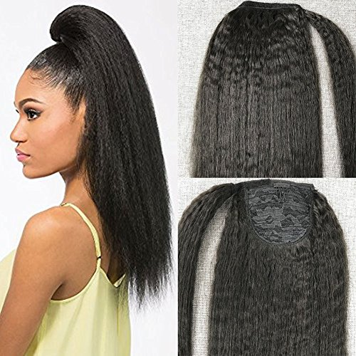 Moresoo Off Black Brazilian 100 Real Menschliches Haar 18 Zoll Ponytail Extensions Clip in for Black Women Menschliches Haar Kinky Straight 100g Per Pack Remi Huamn Hair Extensions (Hair Extensions Human Hair Remi)