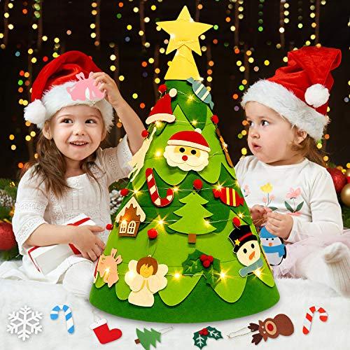 Outgeek albero di feltro di natale, albero di feltro di natale fai-da-te 3d per bambini con 28 ornamenti 50 luci a led per bambini regali di natale decorazioni natalizie da parete per porte di casa