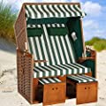 Strandkorb NORDSEE Deluxe GNE grün-weiss, Geflecht natur, fertig montiert, LILIMO ® von LILIMO ® bei Gartenmöbel von Du und Dein Garten