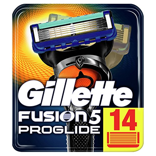 Gillette Fusion5 ProGlide - Maquinilla De Afeitar, 14 Recambios, Paquete Apto Para El Buzón De Correos, Tecnología FlexBall Que Se Adapta A Los Contornos