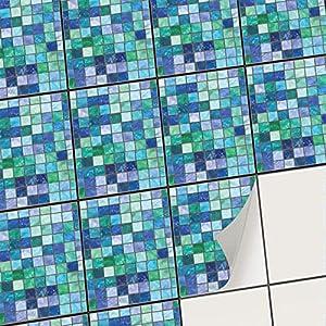 creatisto Mosaik-Fliesen Fliesensticker Fliesenfolie - Selbstklebende Fliesen Folie | Stickerfliesen - Mosaikfliesen für Küche, Bad, WC Bordüre (15x20 cm | 12 -Teilig)