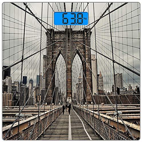 Körpergewichtswaage USA Ultradünne Personenwaage aus gehärtetem Glas Genaue Gewichtsmessungen, Ansicht der historischen berühmten Brooklyn Bridge und Kabelmuster NYC Architecture, B ()