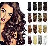 FESHFEN Extensions de Cheveux Naturels 7 Pièces 16 Clips Tête Complète Postiches Cheveux Longs Bouclés et Cheveux Raides