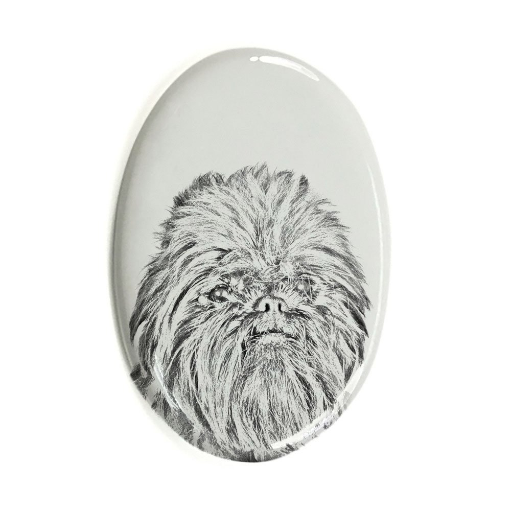 ArtDog Ltd. Affenpinscher, oval gravestone from ceramic tile with an image of a dog