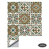 decalmile 10 Pièces Stickers Carrelage 15x15cm Fleur Méditerranéen Carrelage Adhésif Mural Cuisine Salle de Bain Carreaux de Ciment Mural Décoration