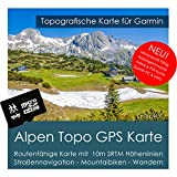 Alpen Garmin Topo 4GB MicroSD (Germany Switzerland Italy Austria France) Montagne Bicycle Hiking Walking Trekking Outdoors Tourist Map Navigation GPS for PC and Mac