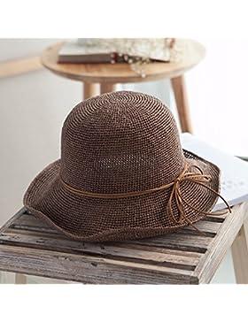 LVLIDAN Sombrero para el sol del verano Dama SolAnti-sol Beachstrawhat Simplestyle plegable marrón