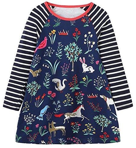 Kaily Mädchen Baumwolle Langarm Tiere Mustern T-shirt Kleid (3T(3-4Jahre), 171003TZ)