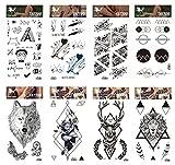 GGSELL GGSELL Tattoo 8pcs Karikatur und Totem temporäre Tätowierungen in einem Pakete, einschließlich Wolf, Hirsche, Tiger, schwarze Rose, Blumen, Totem Grafiken temporäre Tätowierungen