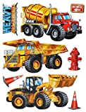 Unbekannt 8 tlg. Set: XL 3-D Wandtattoo / Fensterbild / Sticker - Bagger Baustelle - wasserfest - selbstklebend Pop-Up Aufkleber Wandsticker - Kran Baustellenfahrzeuge Auto Kran LKW Kipper