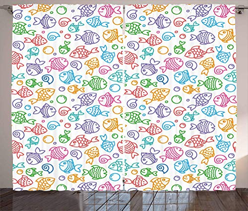 ERCGY Fish Curtains, Colorful Doodle Style Fish with Happy Faces and Bubbles Under The Sea Aquarium, Living Room Bedroom Window Drapes 2 Panel Set, 120 inch X 66 inch, Multicolor -