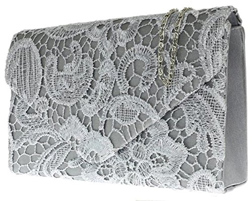 H&G Ladies Satin Lace Clutch Bag Shoulder Chain Elegant Wedding Evening Womens - Gold Grey