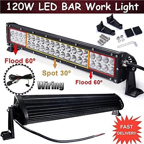 120W Barre lumineuse LED Spot inondation Combo Conduite lampe de travail Offroad Truck 4WD SUV ATV avec faisceau de câblage