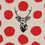 Naturfarbenes Leinwandgewebe mit Hirschen und roten Punkten