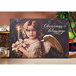 Design Toscano Christmas Blessings Angel Illuminated Canvas Wall Hanging, Cotton, Multi/Color, 37 x 2.5 x 2.5 cm