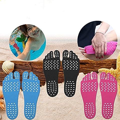 Adhesive Pad Beach Unsichtbare Schuhe für Wasser, KENROLL Barfußschuhe, Stick auf Fuß Sohlen mit Anti-Rutsch-und wasserdichtes Design für Barfuß Liebhaber (5 Pairs-Blau, L:length 9.64 inches /40~43 (Beach Pad)