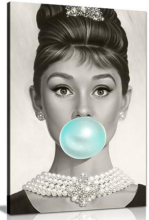 Audrey Hepburn Blue Bubblegum Canvas Wall Art Picture Print (18x12in)