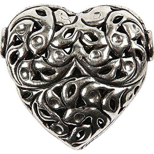 Großes Herz , Größe 40x39x18 mm, antiksilber, Sterlingsilber versilbert, 6Stck.