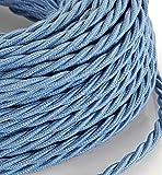 5 Mt Cavo elettrico Treccia Trecciato stile vintage rivestito in tessuto colorato Azzurro Avio sezione 3x0,75 per lampadari, lampade, abat jour, design. Made in Italy