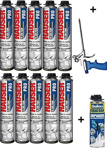 10 Mousses expansives polyuréthane 750 ml pour Pistolet + 1 Pistolet + 1 Nettoyant